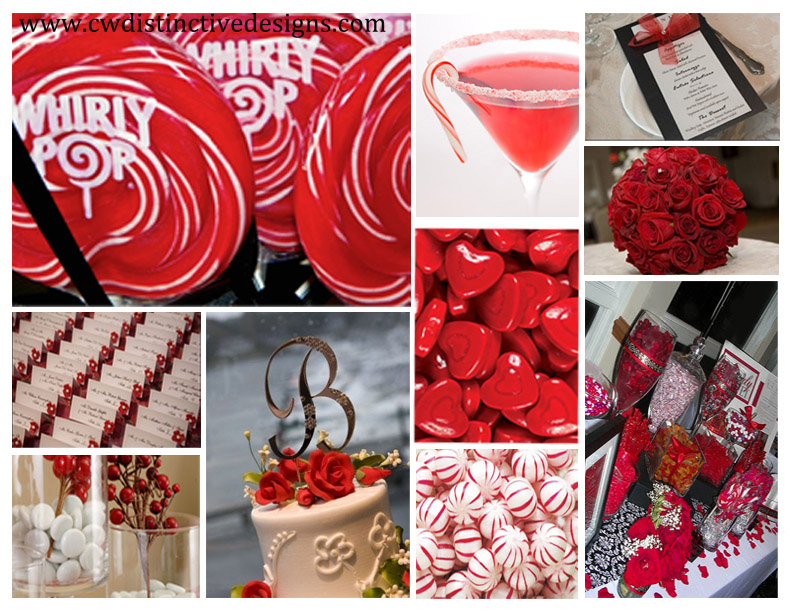 a red and white candy buffet is extremely eyecatching