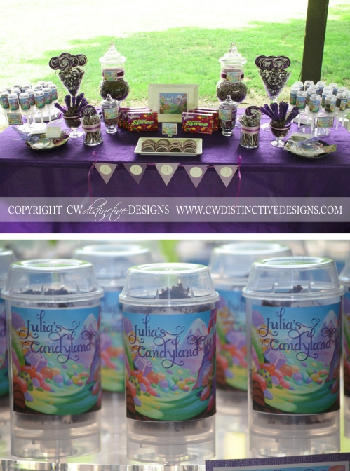 Purple Candyland First Birthday candy Table
