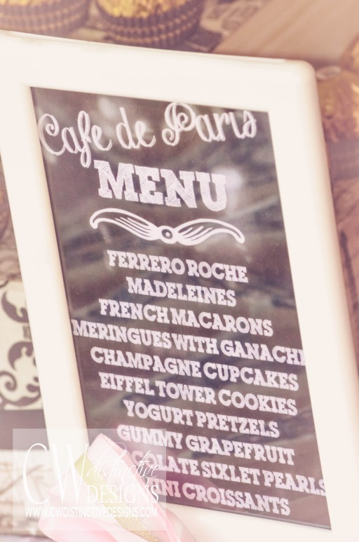Paris Themed Dessert Menu