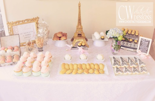 Pale Pink Bridal Shower Dessert Tables