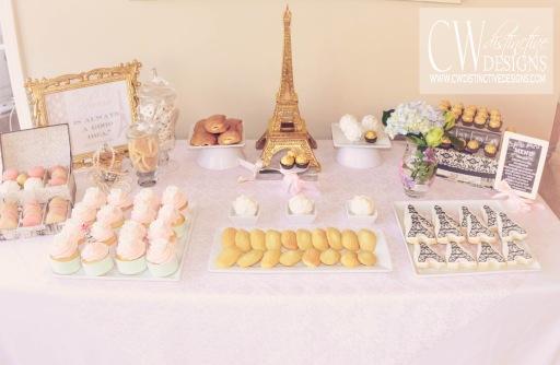 Pale Pink Bridal Shower Dessert Tables