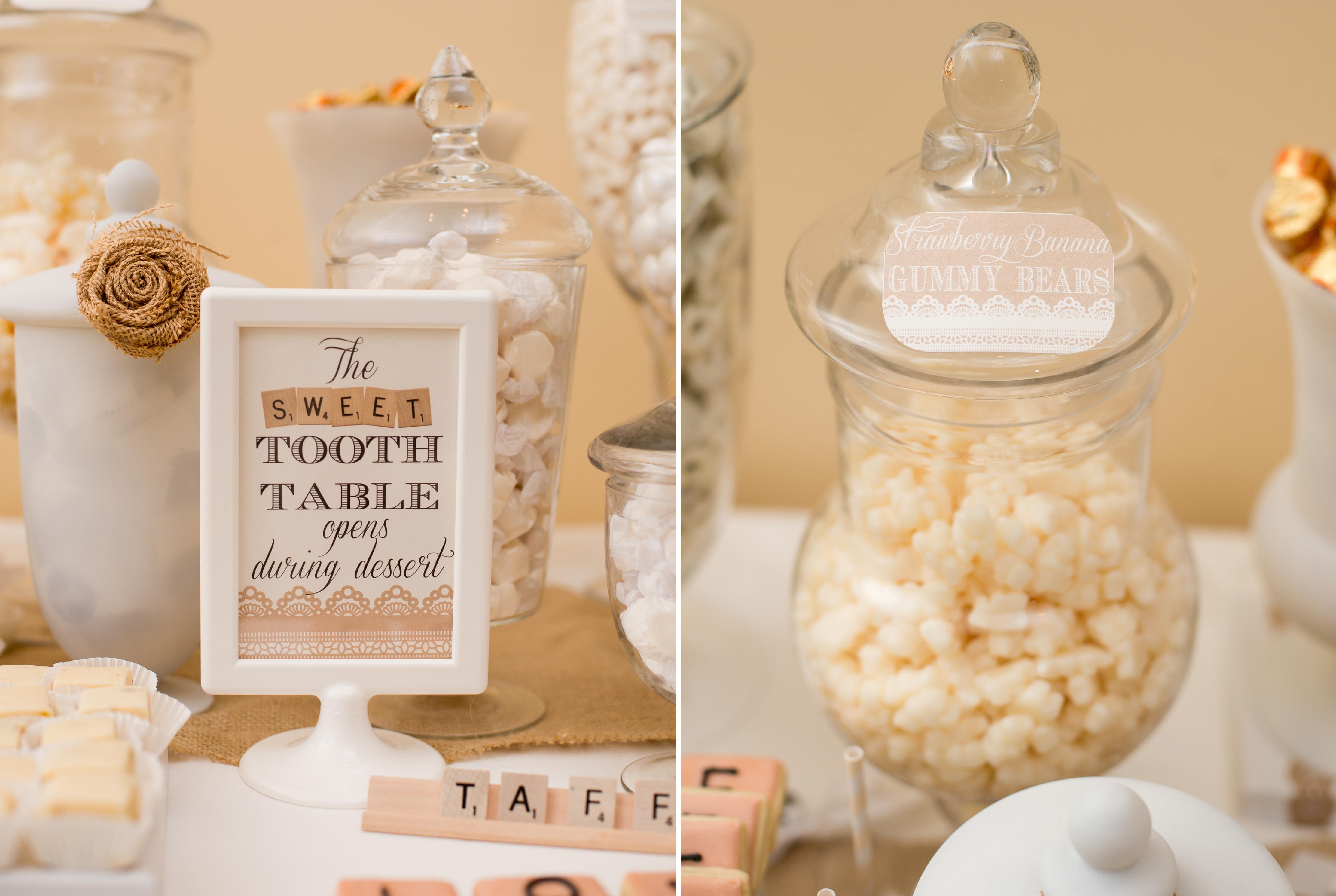 Rustic Chic Winter Wedding Dessert Table Scrabble Feature
