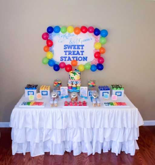 Rainbow Art  Greek Key Meandros Birthday Party Dessert Table | #ruffledtablecloth #cake #backdrop | www.cwdistinctivedesigns.com | www.candybuffetsnj.com