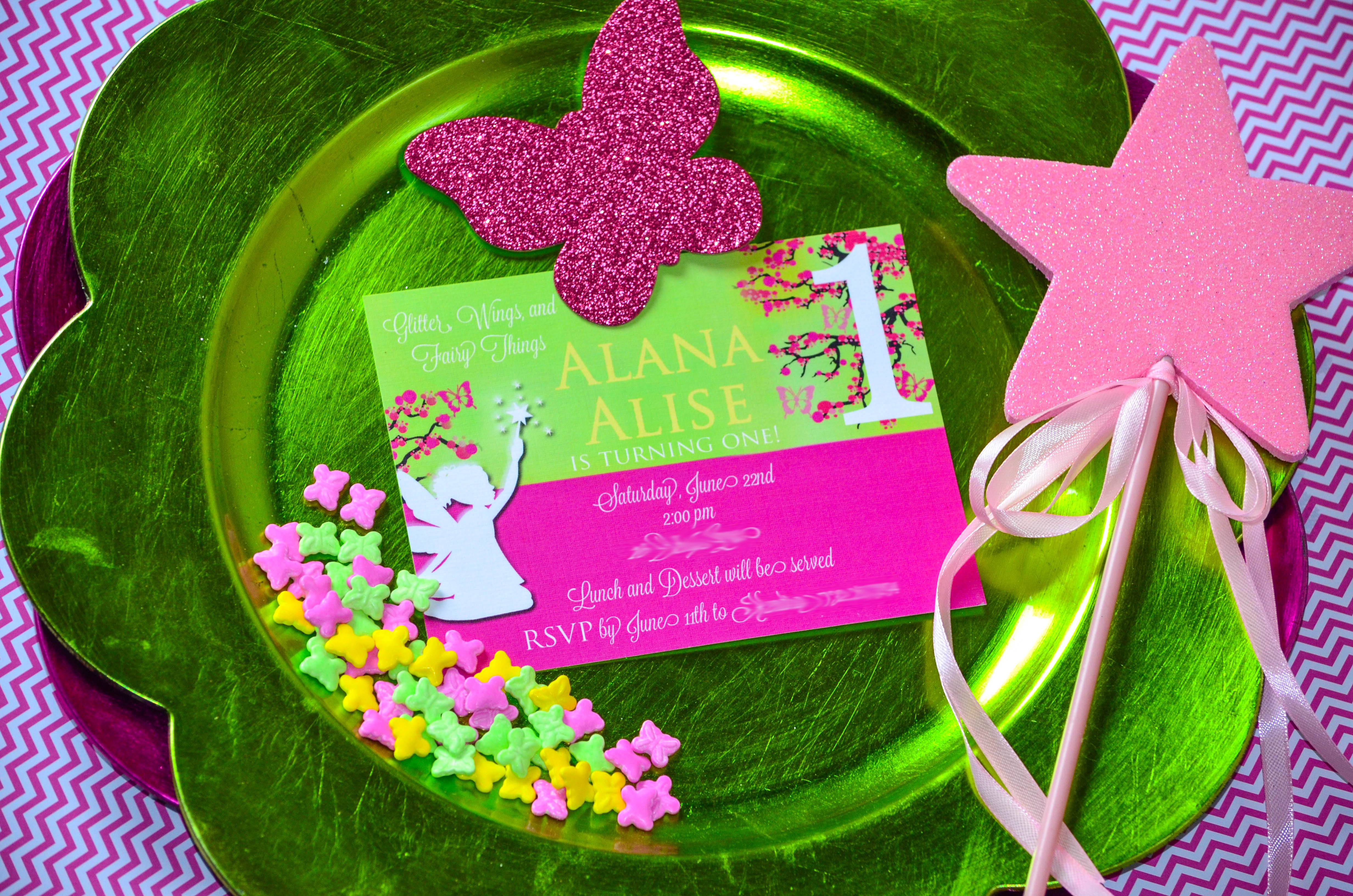 Chevron Pattern Glitter Wings and Fairy Things CW distinctive – Fairy Birthday Party Invitations