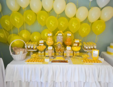 Yellow Ballon Backdrop for Dessert Table