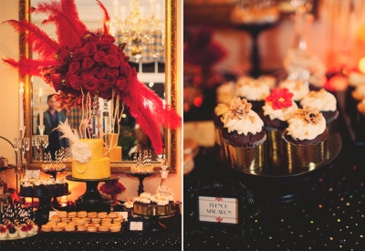 Vintage Great Gatsby Wedding Dessert Table | #cupcakes #cakepops cake feathers black gold red | www.cwdistinctivedesigns.com | www.candybuffetsnj.com