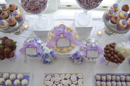 White and Purple Wedding Candy Table