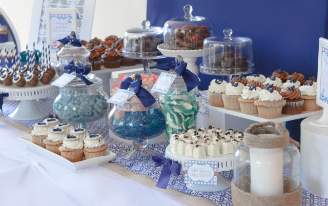 Navy and White Nautical Candy and Desssert Table #quatrefoil #whales #cupcakes | www.cwdistinctivedesigns.com