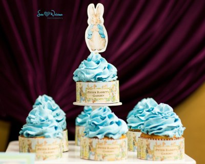 Peter Rabbit Baby Shower Dessert Table with themed sweets | #candybuffetsnj #backdrop #cakepops | www.cwdistinctivedesigns.com
