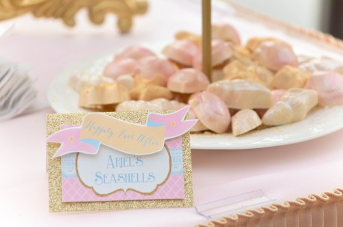 Happily Ever After princess Candy and Dessert Table Little Mermaid Ariel Seashells| #disney #littlemermaid #desserttables wwwcwdistinctivedesigns.com