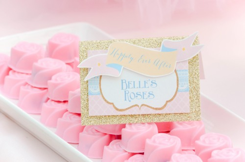 Disney Princess Candy and Dessert Table Belle Roses| #belle #beautyandthebeast #desserttables wwwcwdistinctivedesigns.com