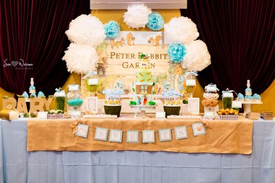 Beatrix Potter Peter Rabbit Baby Shower Dessert Table with themed sweets | #desserttables #backdrop #cakepops | www.cwdistinctivedesigns.com