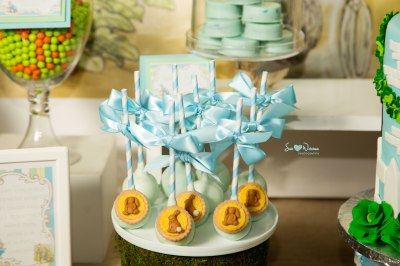 Peter Rabbit Baby Shower Dessert Table with themed sweets |  #backdrop #cakepops | www.cwdistinctivedesigns.com
