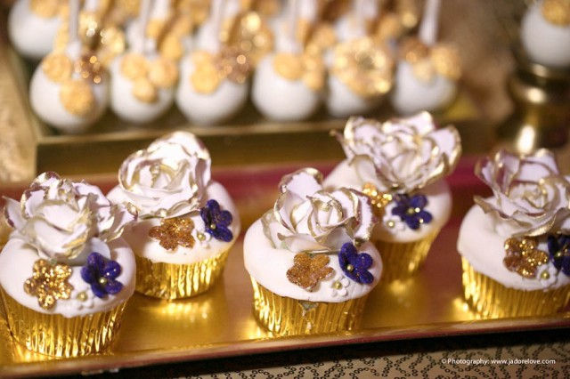 | Modern Opulence Gold Wedding Dessert Table | cake cupcakes cake pops dessert shooters cookies | www.cwdistinctivedesigns.com | #gold #desserttables #wedding