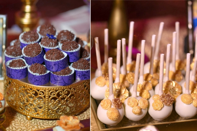 | Modern Opulence Gold Wedding Dessert Table | cake cupcakes cake pops dessert shooters cookies | www.cwdistinctivedesigns.com | #brigadeiros #desserttables #wedding