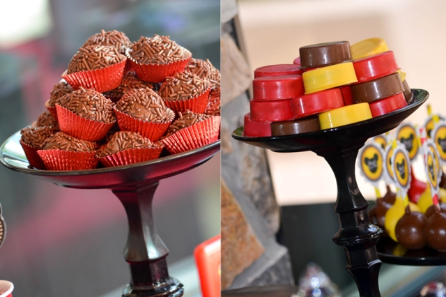 | Mickey Mouse Dessert Table and Candy Buffet Party Inspiration | #brigadeiros #desserttables #candybuffets | www.cwdistinctivedesigns.com |