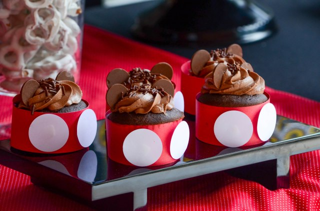 | Mickey Mouse Dessert Table and Candy Buffet Party Inspiration | #cupcakes #desserttables #njcandybuffets | www.cwdistinctivedesigns.com |