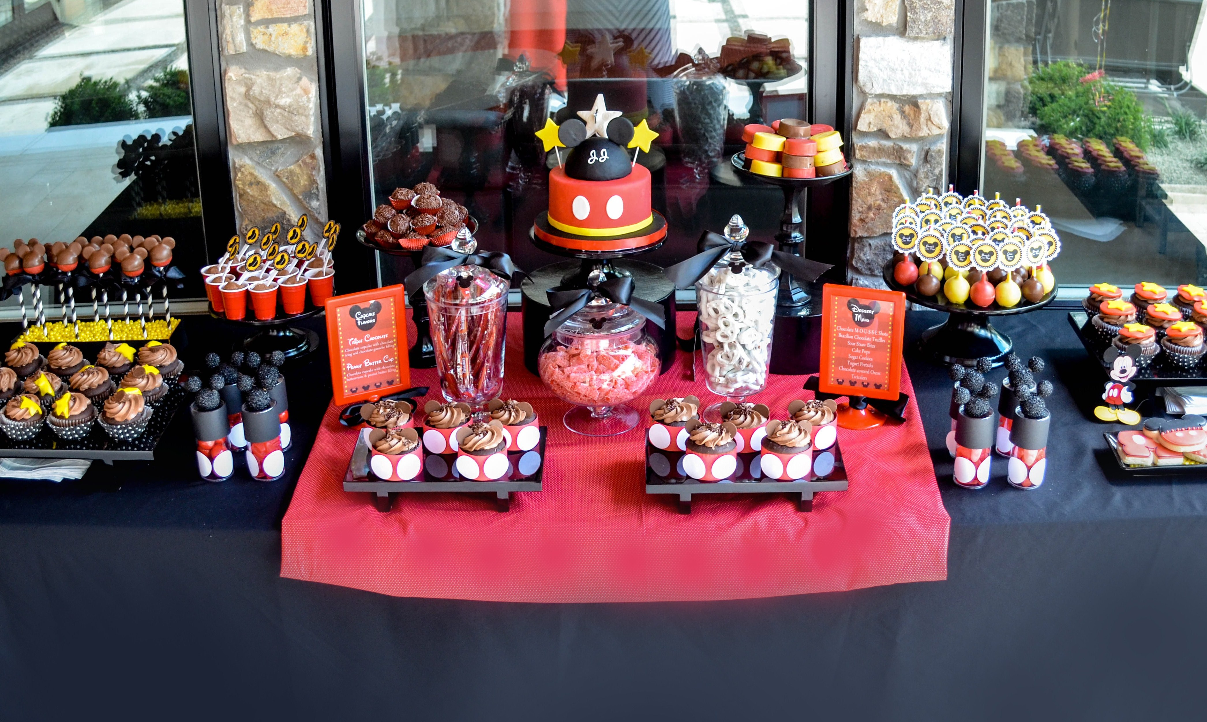 mickey mouse dessert table and candy buffet party inspiration cake desserttables