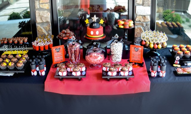 | Mickey Mouse Dessert Table and Candy Buffet Party Inspiration | #cake #desserttables #candybuffets | www.cwdistinctivedesigns.com |