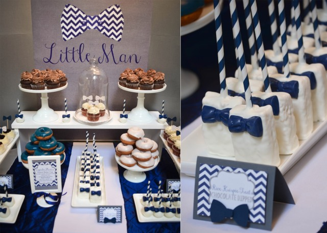 |Our Little Man Baby Shower | www.cwdistinctivedesigns.com | #bowtie #ricekrispietreats #desserttables