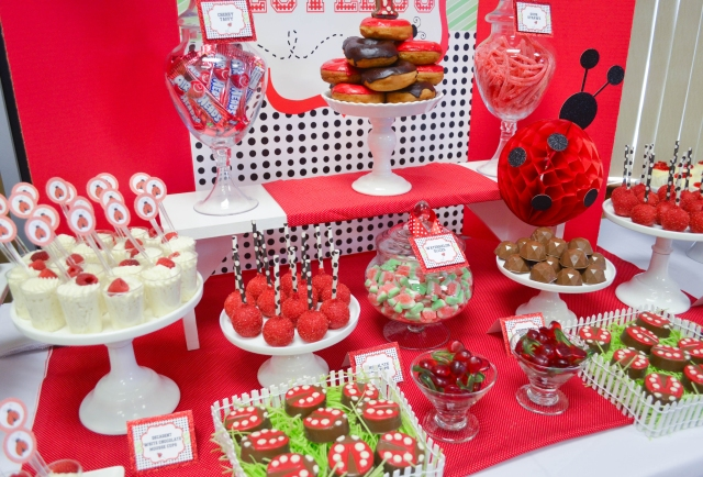 | Ladybug Birthday Candy and Dessert Table | www.cwdistinctivedesigns.com | www.candybuffetsnj.com | #desserttables #lovebug #partyideas