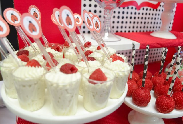 | Ladybug Birthday Candy and Dessert Table | www.cwdistinctivedesigns.com | www.candybuffetsnj.com | #mousserecipes #whitechocolate #partyideas
