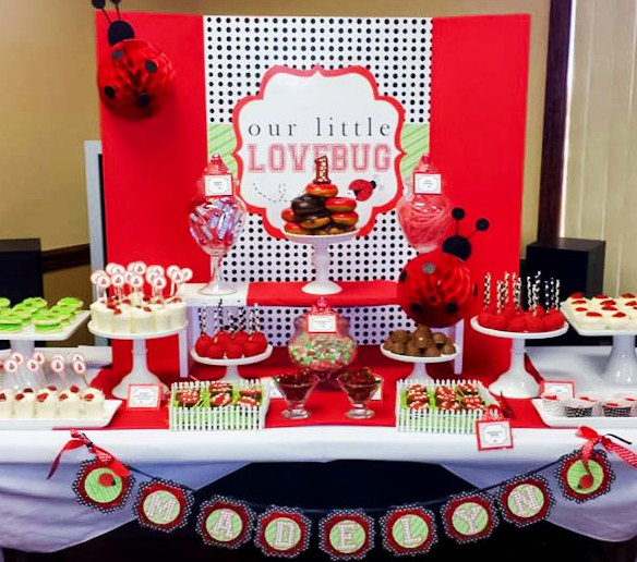 | Ladybug Birthday Candy and Dessert Table | www.cwdistinctivedesigns.com | www.candybuffetsnj.com | #lovebug #desserttables #candybuffet