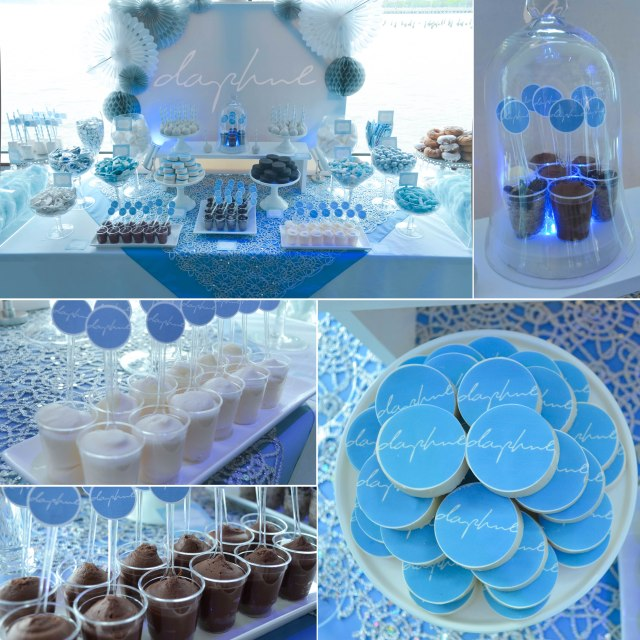 Daphne's NYC Mitzvah Candy Buffet and Dessert Table | www.cwdistinctivedesigns.com | #blue #nyc #desserttables
